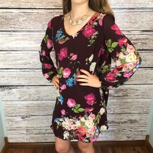 Entro Burgundy floral boho dress size medium